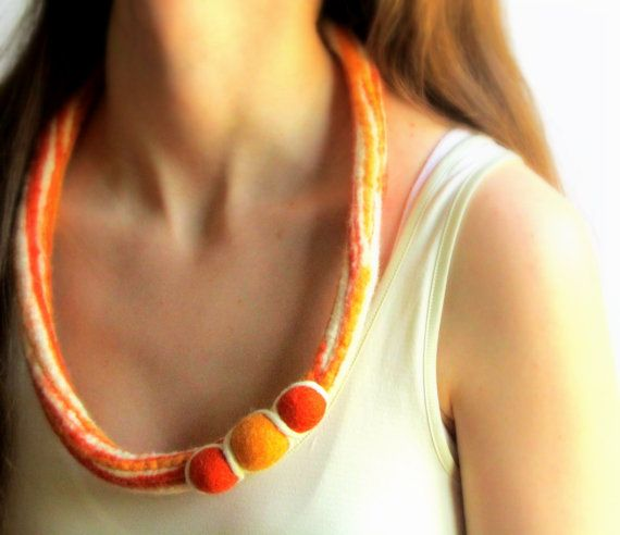 Autumn Sale - Felted Necklace: Wet Felted Wool Cord Felt Jewelry Handmade on…