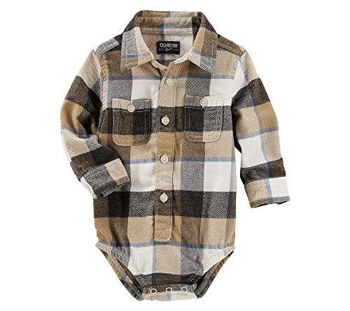 OshKosh B'Gosh Baby Boys' Button-Front Plaid Flannel Bodysuit 12 Months