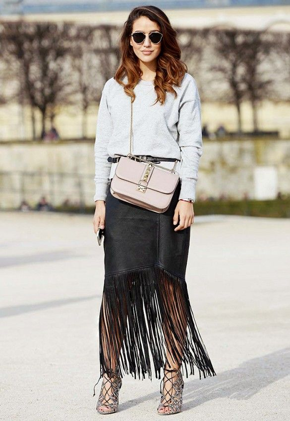 How to Dress Down Your Amazing Fringe Skirt via @WhoWhatWear