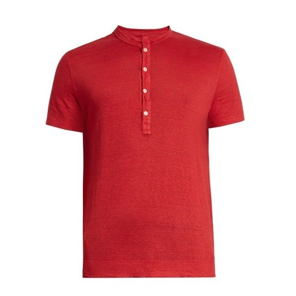 120% Lino Henley linen T-shirt (2,300 EGP) ❤ liked on Polyvore featuring men's fashion, men's clothing, men's shirts, men's t-shirts, red, mens henley t shirt, mens red polka dot shirt, mens red linen shirt, mens red shirt and mens red t shirt