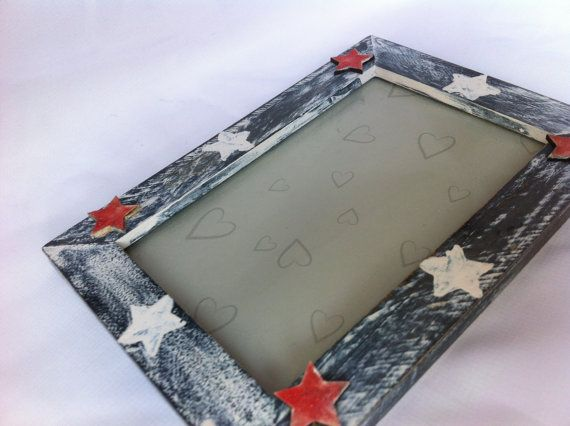 Red wooden star and natural hand painted star by TheHandmadeChicCo, £11.95