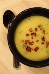 Yukon Gold Potato, Leek, Bacon & Poblano Pepper Soup - from the Frontera Grill, and Rick Bayless' daughter