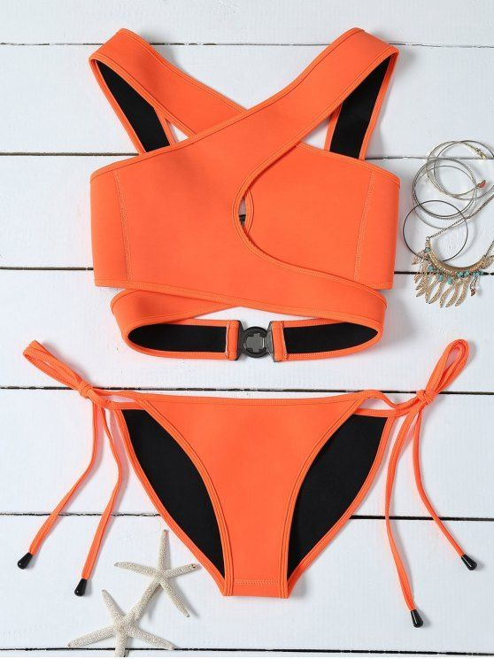 Crossover Cut Out Bikini Set - ORANGE S