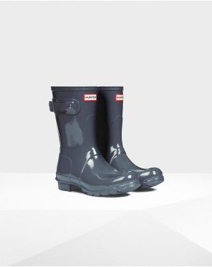 Hunter Women's Original Short Gloss Wellington Boots Gray-1 #hunterboots # original #shortboots