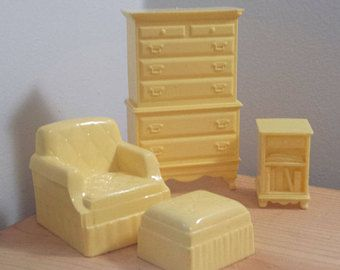 Yellow Louie Marx Dollhouse Furniture, Chair, End Table, Chest Of Drawers,  Vintage
