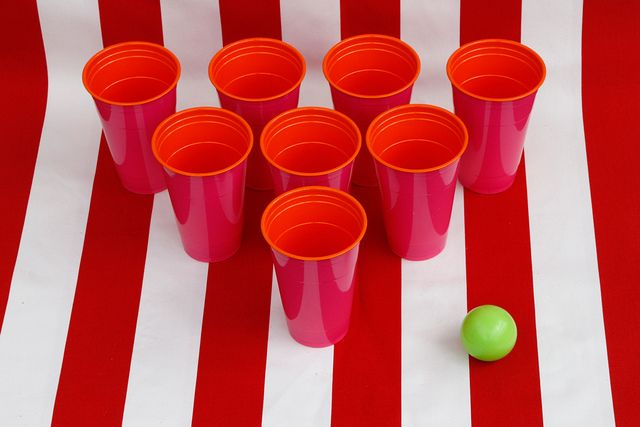 Use ping pong balls to play, put rocks in bottom of cups