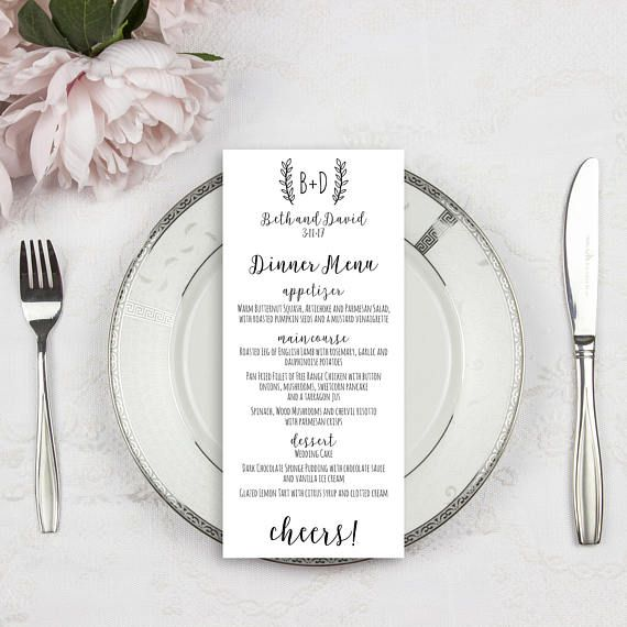 Personalized & Printed Wedding Menus. Pick your fonts, ink colors and wording.   DesignedByMe on Etsy