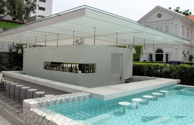 Swimming Pool, Contemporary White Pool And Wimp Up Bar Design With Hanging Lighting And Minimalist Concept: Outstanding Swimming Pool Designs With Swim Up Bar Inspiration For Your Home Ideas