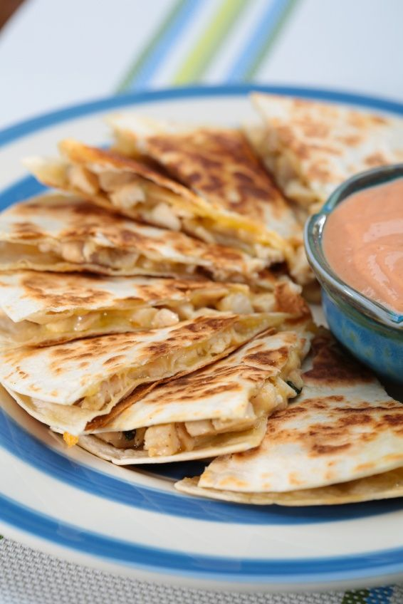 Healthy Chicken Quesadillas. I would add lots more veggies to it though!
