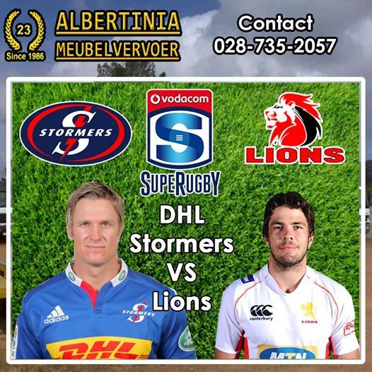 Don't miss all the action today - DHL Stormers VS Lions playing at Newlands - Cape Town at 17:05 PM. Who do you think who will win? To view all the fixtures - Click here: http://on.fb.me/Qcsw0H #supergees #SupeRugby
