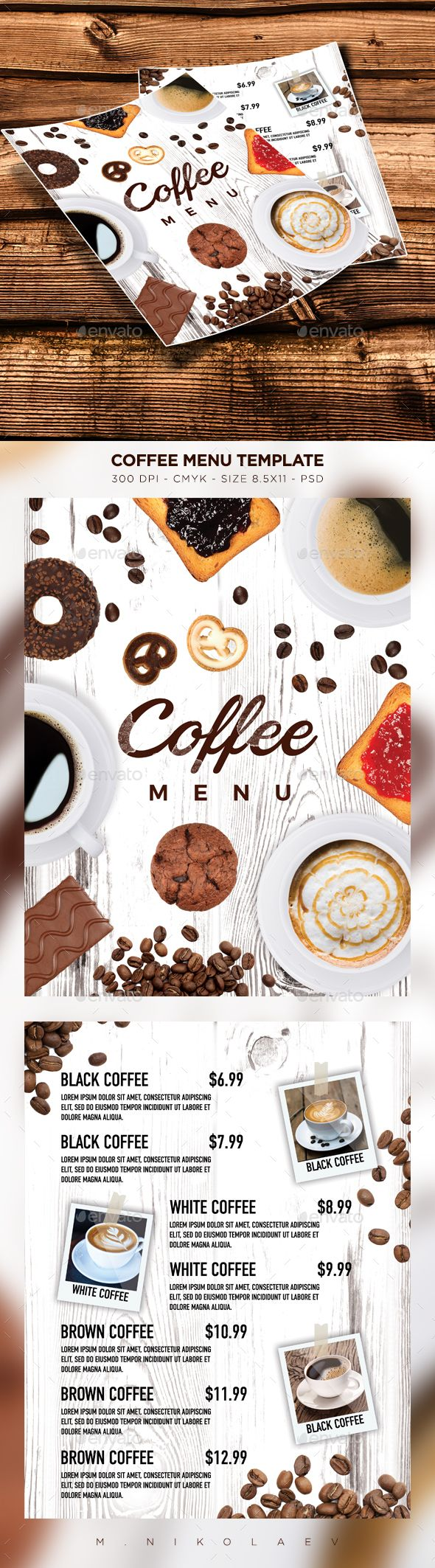 Coffee Menu Template PSD. Download here: https://graphicriver.net/item/coffee-menu/17508720?ref=ksioks