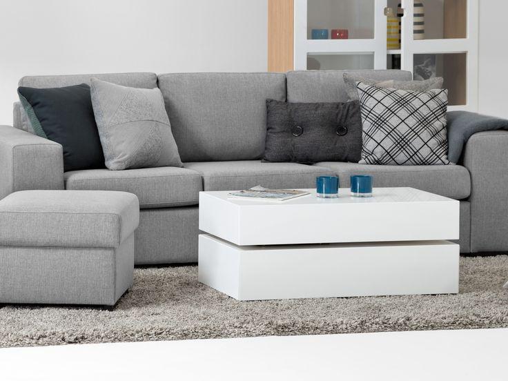 BASEBOX Soffbord 90 Vit Lack - Vridbart soffbord med lådor i vit lack.