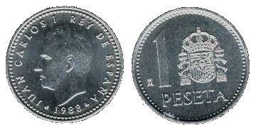 1 peseta de Juan Carlos I Desde 1982 se acuña esta peseta en Aluminio de 1.20 gramos y 21 mm.