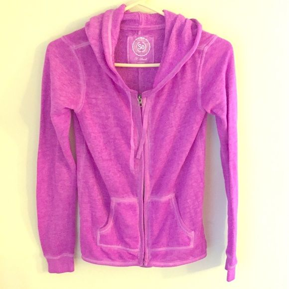 Bright Purple Zip Up Hoodie Love this piece. Hate to part with it but it's too small. Light zip up, beautiful color. Tops Sweatshirts & Hoodies