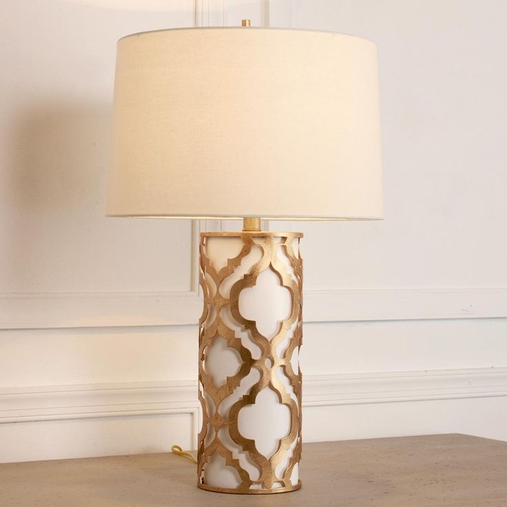 Gilded Gold Medallion Table Lamp The Ornate Gold Leaf Quatrefoil Cut Out  Pattern Stands Out