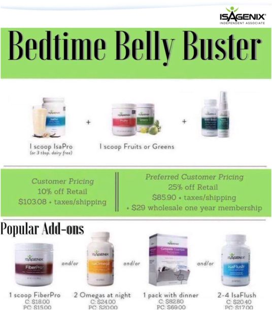 Bedtime Belly Buster Ingredients and optional add ins.