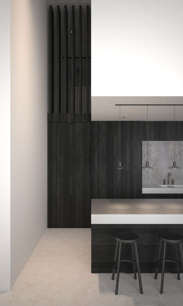   KITCHENS   AD office interieurarchitect - Dark planked oak kitchen in combination with bluestone and brushed aluminium countertop. Pendants by Brokis.