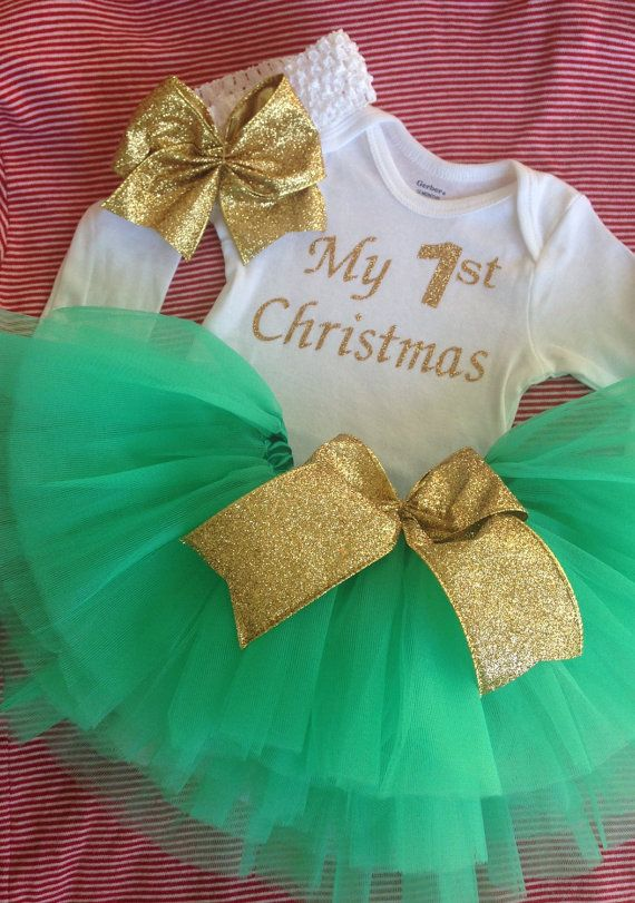 My First Christmas outfit, babies first Christmas with gold green tutu