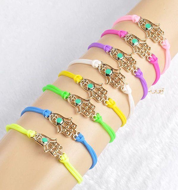 Мода позолоченные пу фатима рука шарм браслеты и браслеты свет конфеты цвет девушка рук аксессуары ювелирные изделия