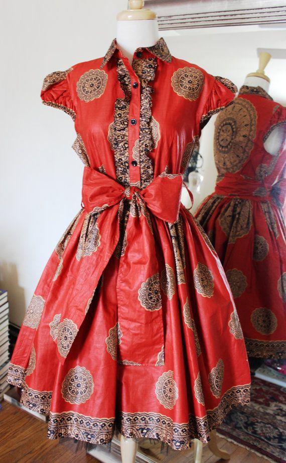 Beautiful Waxed Cotton Dress by MaylanasCloset on Etsy. #Africanfashion #AfricanWeddings #Africanprints #Ethnicprints #Africanwomen #africanTradition #AfricanArt #AfricanStyle #Kitenge #AfricanBeads #Gele #Kente #Ankara #Nigerianfashion #Ghanaianfashion #Kenyanfashion #Burundifashion #senegalesefashion #Swahilifashion ~DK