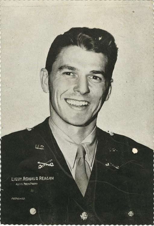 Ronald Reagan (1911-2006) He enlisted in Army 1935. Enlisted Reserve 1937. Regan was a private in Troop B, 322nd Cavalry and ordered to active duty in 1942. Due to his nearsightedness, was classified for limited service only, which excluded serving overseas. He was assigned to First Motion Picture Unit in 1944, where Captain Reagan remained until end of World War II. He served as the 33rd Governor of California. As the 40th President of United States, his final rank was Commander-in-Chief.