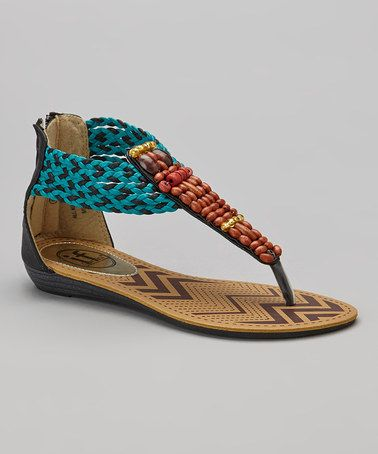 Loving this Black & Turquoise Beaded Sandal on #zulily! #zulilyfinds