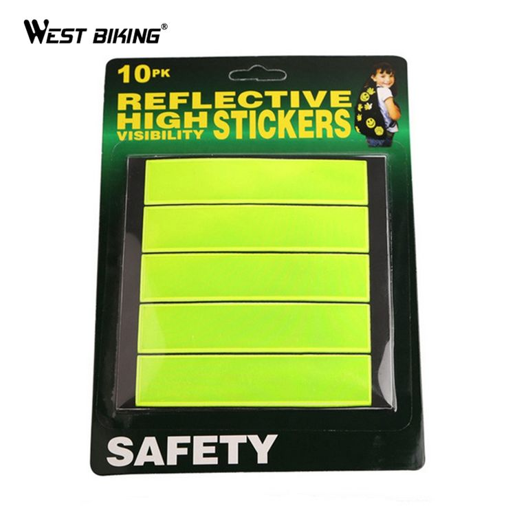 WEST BIKING Super Bright Bicycle Night Cycling Safety Reflective Stickers Tape Patch Fluorescent Colors Bike Reflective Stickers