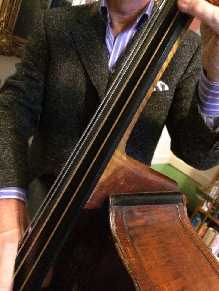 Canali alpaca and silk jacket, Eton shirt. Double bass London circa 1820