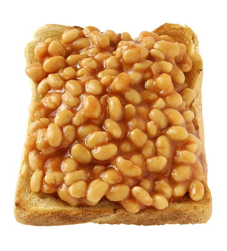 "My breakfast today - heinz baked beans on ezekial toast lightly ""buttered"" with earth balance"