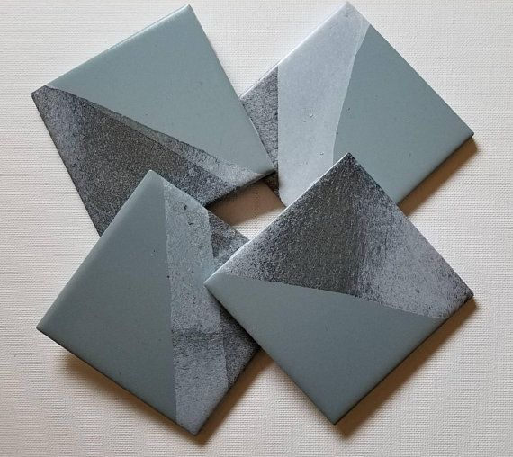Hand Painted Black And Gray Ceramic Coasters Very Modern Https Www Etsy Com Listing 607184715 Gray Moder Ceramic Coasters Modern Coasters Modern Placemats