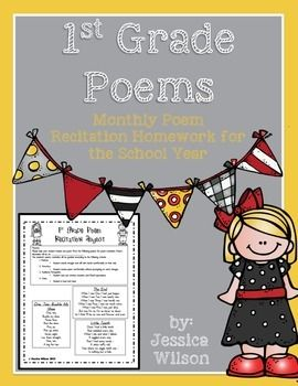 This pack includes a letter to parents about expectations for poem recitation for the school year, a rubric to use to grade kids, and monthly poem assignment sheets to send home. You can use one every month or pick and choose the months you want. :)Helps meet 1st grade Common Core standard - CCSS.ELA-LITERACY.RL.1.10 With prompting and support, read prose and poetry of appropriate complexity for grade 1.Images by Melonheadz
