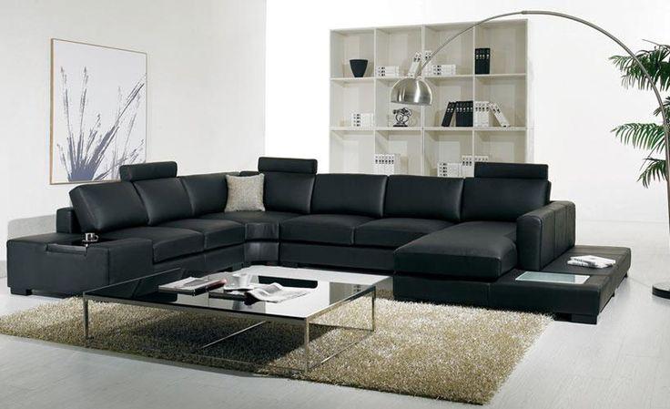 Black leather sofa Modern Large Size U Shaped Sofa Set with light, coffee table fashion simple corner Sofa Living Room Sofas #Affiliate