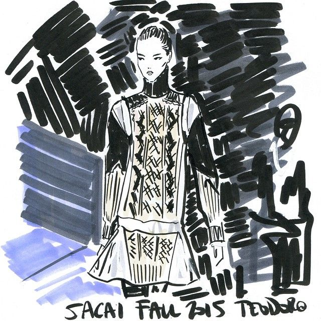ReSketch #regram @netaporter this sweater dress loveliness @sacaiofficial #Sacai #PFW #fashion #illustration