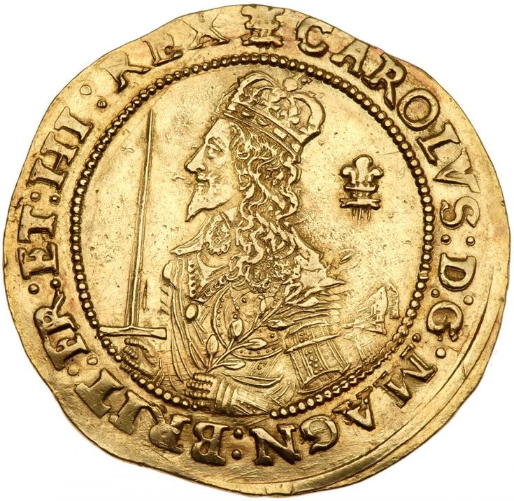 Great Britain. Triple Unite, 1643 (Oxford) NGC AU50 S.2726; Fr-258. Charles I, 1625-1649. Half-length crowned artistic bust of King left, in armour, with scarf flying from shoulder, holding a sword in one hand and an olive branch in the other, plume behind portrait. Mint mark Oxford plume above. Obverse legend reads: CAROLVS: D:G: MAGN: BRIT: FR: ET: HI: REX. Reverse has declaration in three lines on scroll RELIG: PROT LEG: ANGL: LIBER: PAR, with value (III) and 3 plumes above, date below…