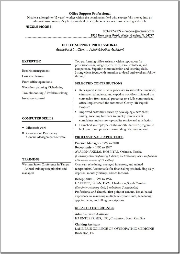 7 best resume images on Pinterest Resume, The story and - animal hospital receptionist sample resume