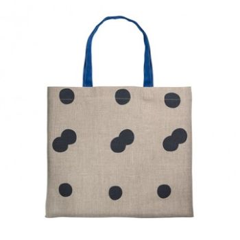 Gail Bryson Ink/Cobalt Blue  Holloway Spot Large Tote: Hand-printed spot tote bag made from good quality slate linen. Ink printed spots with contrasting pink cotton tape straps. All bags are printed in London and hand-sewn by the ladies of HMP Holloway.