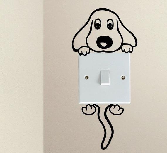 Cubierta de calcomanía para interruptor de luz colgante para perro: calcomanía para interruptor de luz, etiqueta de la pared, calcomanía de pared, arte de vinilo en var