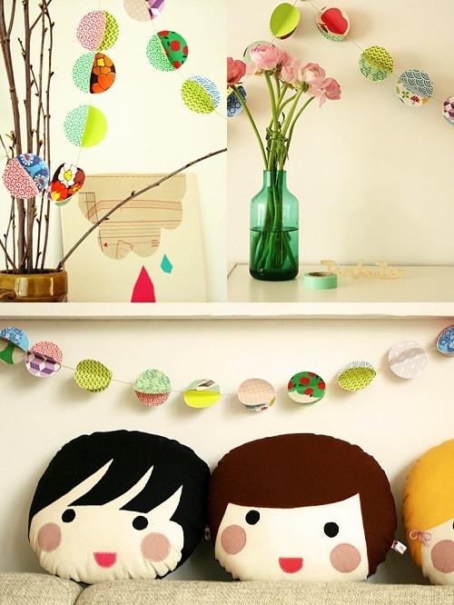garland / cushions: Paper Garlands, Head Pillows, Toilets Paper Rolls, Cute Pillows, Dolls Head, Kids Cushions, Faces Pillows, Kids Gifts, Kids Rooms