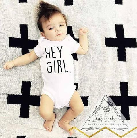 « HEY GIRL, » BODYSUIT. Baby boy clothes, hipster baby, funny baby onesies, baby boy shower gift, The Pine Torch.