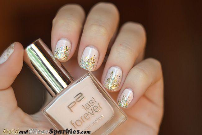 Elegant glitter nails http://www.goldandsilversparkles.com/2013/09/p2-last-forever-nail-polish-130-lovely.html #bloggers #bbloggers #glitter #nailpolish