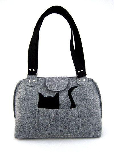 Cat handbag Felt purse Bag for women Gray bag Felt by Torebeczkowo,#Cathandbag #Feltpurse  #graybag, #feltcatbag