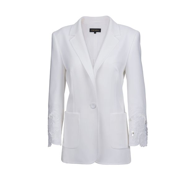 Pure white blazer with lace motives from #Escada