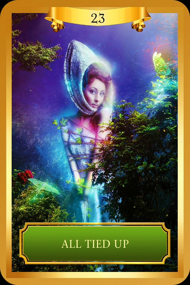 "Daily Angel Oracle Card, from the Energy Oracle Card deck, by Sandra Ann Taylor: All Tied Up All Tied Up: ""Lack of Motion or Sense of Personal Freedom."" ""This card shows a woman tied up with vines ..."