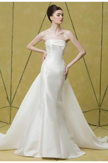 Robe de mariée bustier en satin orné perles sans bretelles traîne amovible