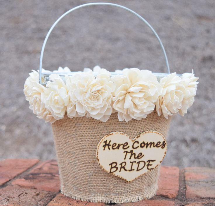 Here Comes the Bride Flower Girl Tin Pail! Pail is wrapped with a natural jute…