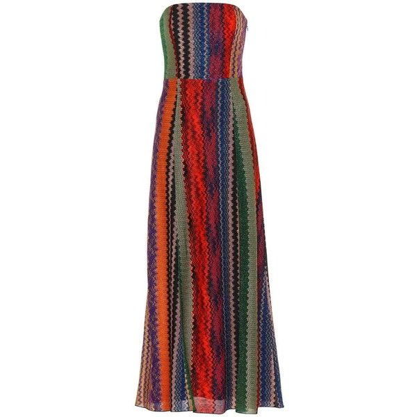 Missoni Strapless Striped Maxi Dress (2,715 CAD) ❤ liked on Polyvore featuring dresses, multicoloured, colorful maxi dress, red strapless dress, strapless dresses, multi colored maxi dresses and multi coloured dress