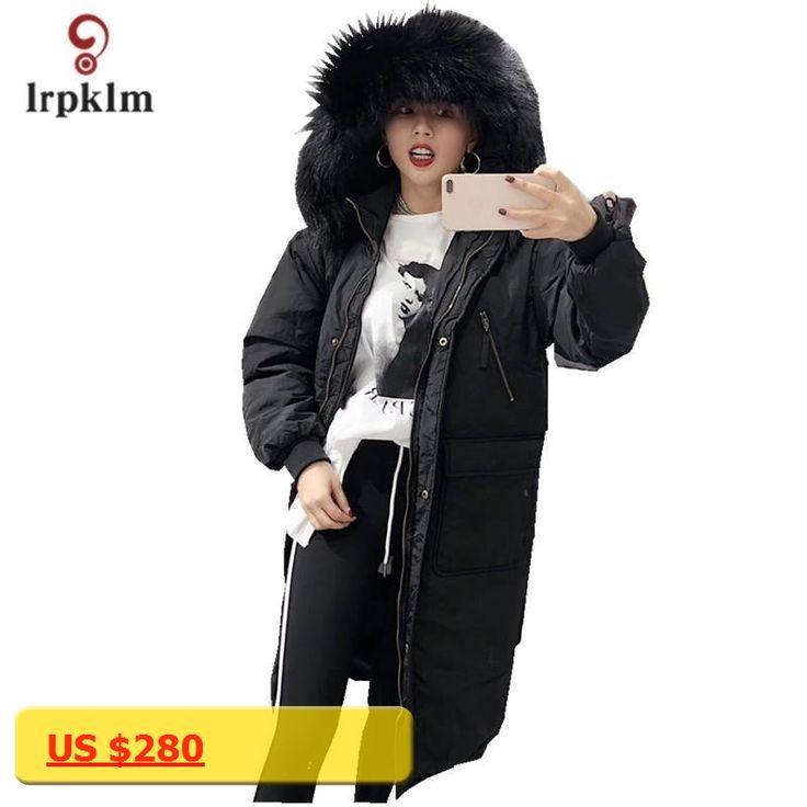 LRP KIMWinter Ladies Down Jacket 2017 Large Yards Quality Down Jacket Hooded Collar Fur Collar Ladies Down Jacket parkas LZ669
