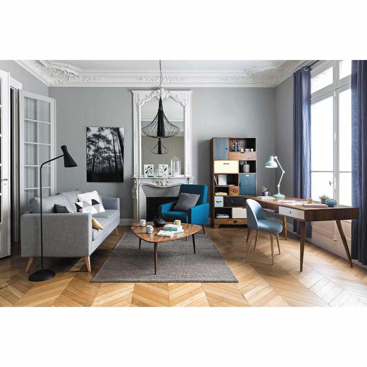 Chaise vintage en tissu et bouleau massif bleue Mauricette | Maisons du Monde