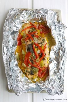 Experimente aus meiner Küche: Lachs-Gemüse-Päckchen mit Sahne-Dill-Senfsoße
