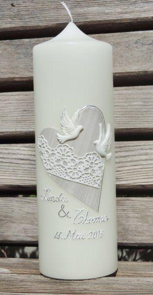 """Hochzeitskerze """"Herz mit Spitze"""" von CERA-Kerzen auf DaWanda.com"""